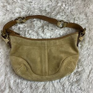 Coach Tan Suede Baguette Bag Bronze Hardware